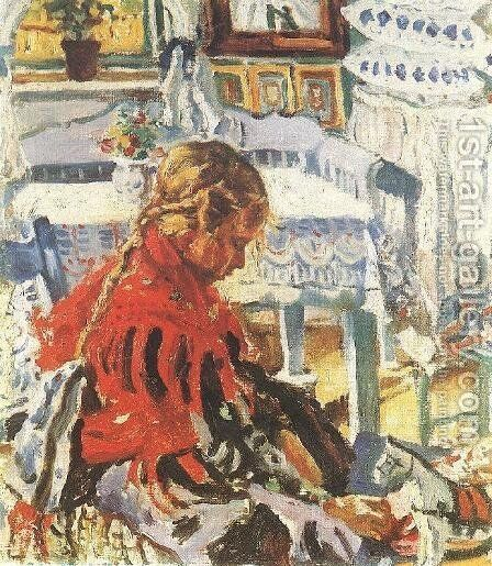 Girl Sitting in a Room by Izsak Perlmutter - Reproduction Oil Painting