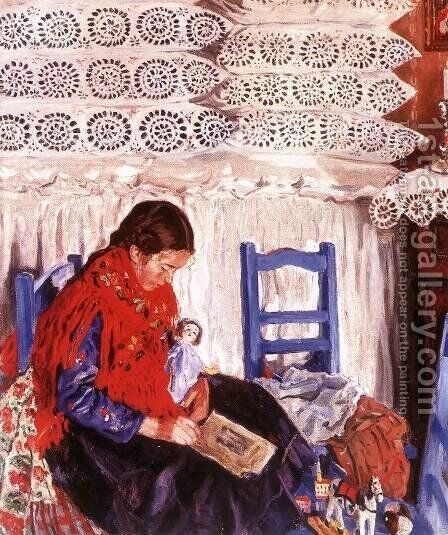 Reading Girl 1926 by Izsak Perlmutter - Reproduction Oil Painting