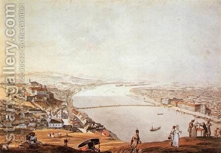 View of Pest-Buda from the Gellerthegy 1817 by Andras Petrich - Reproduction Oil Painting