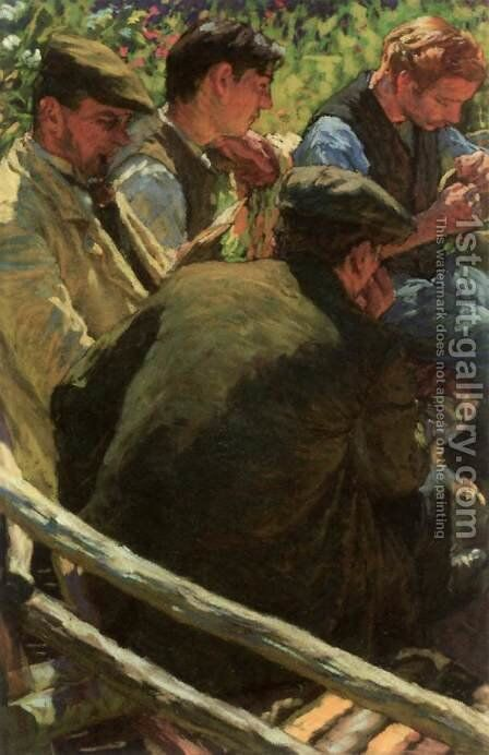 Lunch Break on the Field by Hugo Poll - Reproduction Oil Painting