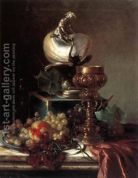 Fruit Still-life with Pot by Adalbert Schaffer - Reproduction Oil Painting