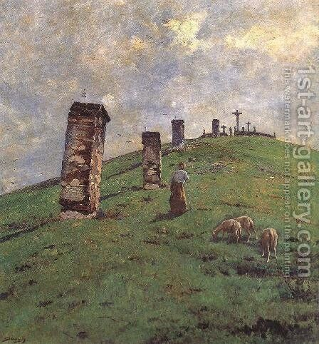 Calvary at Bodajk 1880-90 by Bela Spanyi - Reproduction Oil Painting