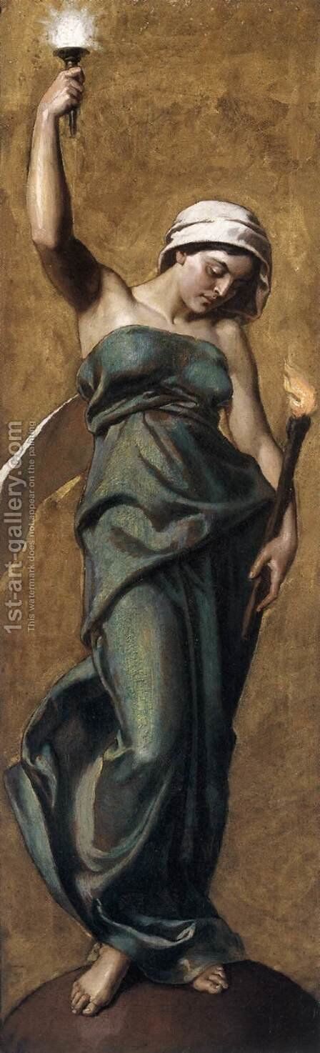 Allegorical Female Figure with Torch by Gyula Stetka - Reproduction Oil Painting