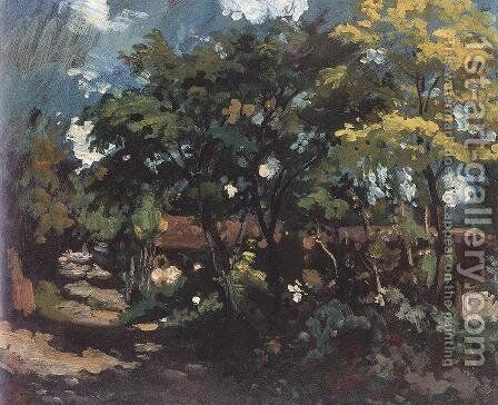View of a Village 1885-90 by Bertalan Szekely - Reproduction Oil Painting