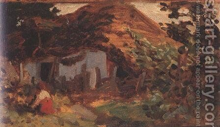 Farm-yard with Girl in Red Skirt 1885-90 by Bertalan Szekely - Reproduction Oil Painting