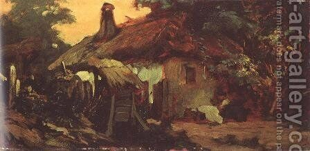 House at Szada 1880s by Bertalan Szekely - Reproduction Oil Painting