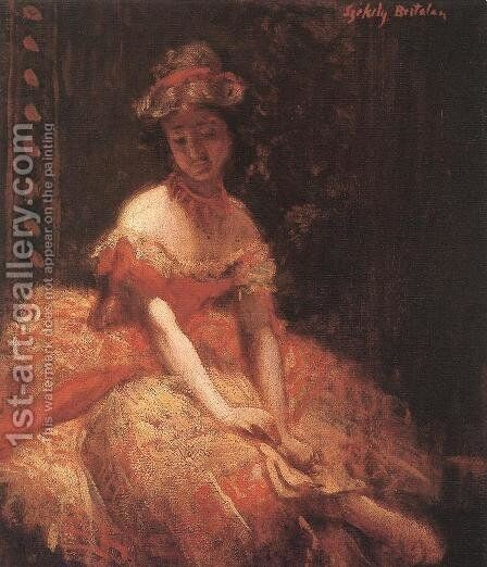 Dancer study c. 1875 by Bertalan Szekely - Reproduction Oil Painting