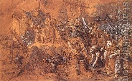 Zrinyis Charge from the Fortress of Szigetvar before 1884 by Bertalan Szekely - Reproduction Oil Painting