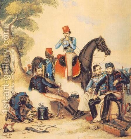 Officers at Camp-fire 1849-50 by Mor Than - Reproduction Oil Painting
