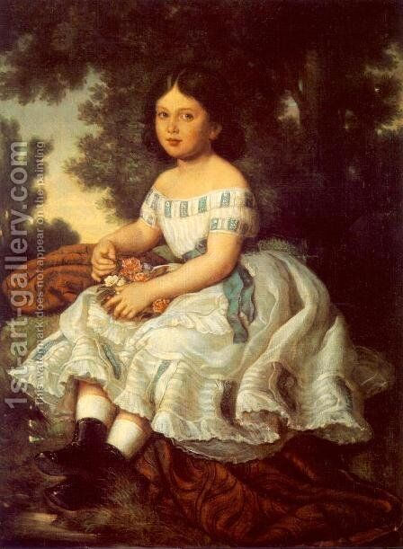 Girl in the Garden 1863 by Mor Than - Reproduction Oil Painting