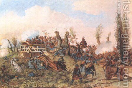 Battle at Tapiobicske II 1849-50 by Mor Than - Reproduction Oil Painting