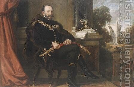 Portrait of Baron Ede Mikos 1869 by Mor Than - Reproduction Oil Painting
