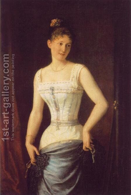 Woman with Silk Corset 1891 by Mor Than - Reproduction Oil Painting
