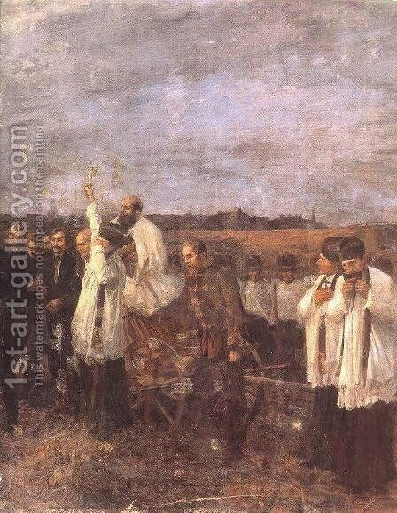 The Martyrs of Arad Sixth of October, detail. right view 1893-96 by Janos Thorma - Reproduction Oil Painting