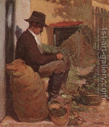 Peasant Shelling Peas c. 1910 by Janos Thorma - Reproduction Oil Painting