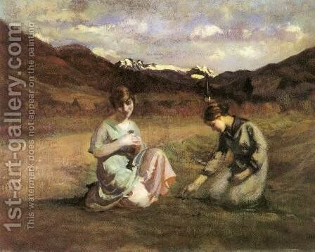 Picking Violet 1920 by Janos Thorma - Reproduction Oil Painting