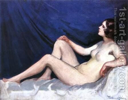 Nude in Blue Background 1930s by Janos Thorma - Reproduction Oil Painting