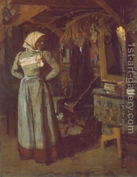 Young Woman in the Atelier 1904 by Janos Tornyai - Reproduction Oil Painting
