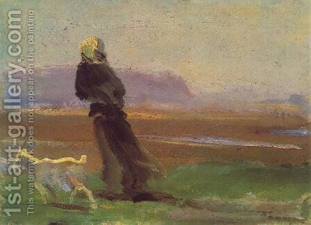 Woman with Goat c. 1910 by Janos Tornyai - Reproduction Oil Painting