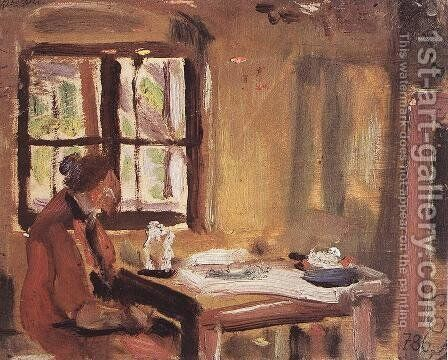 At the Window Rozsi at the Table 1933-34 by Janos Tornyai - Reproduction Oil Painting