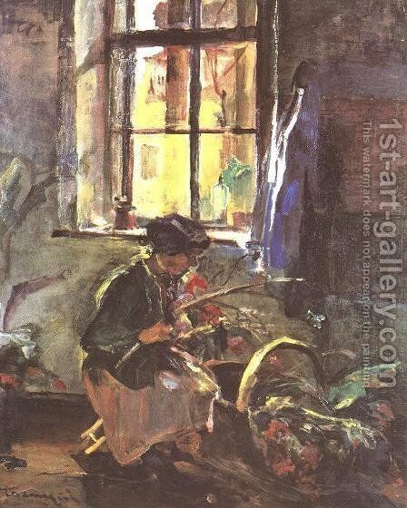 Making a Bunch of Flowers 1933 by Janos Tornyai - Reproduction Oil Painting