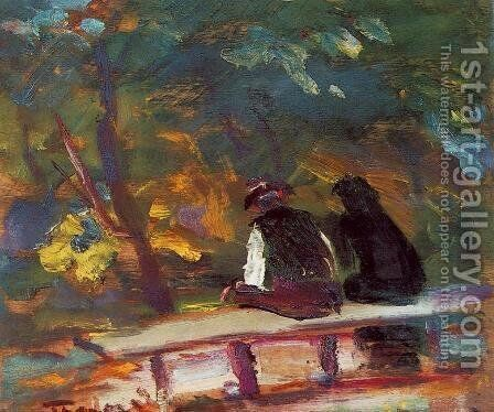 On the Bench 1933-34 by Janos Tornyai - Reproduction Oil Painting