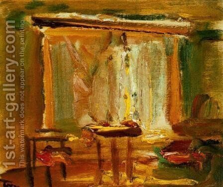 Interior with Curtained Window 1929 by Janos Tornyai - Reproduction Oil Painting