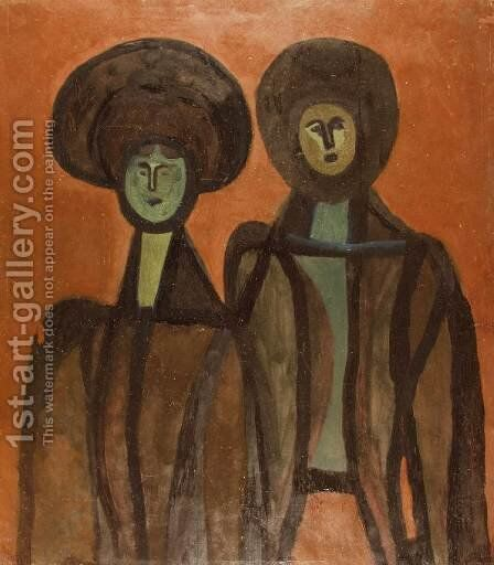 Two Sisters 1936 by Lajos Vajda - Reproduction Oil Painting