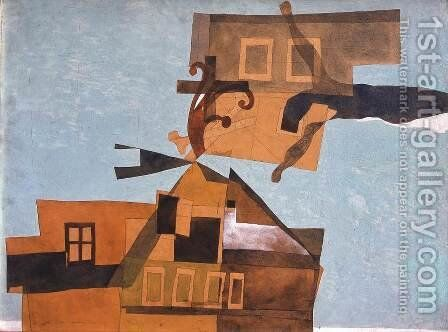 Houses at Szentendre with Crucifix 1937 by Lajos Vajda - Reproduction Oil Painting