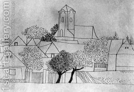Churches, Trees, Dotted Forms 1934 by Lajos Vajda - Reproduction Oil Painting