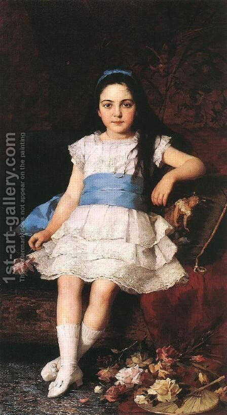 Portrait of a Girl 1883 by Gyorgy the Elder Vastagh - Reproduction Oil Painting