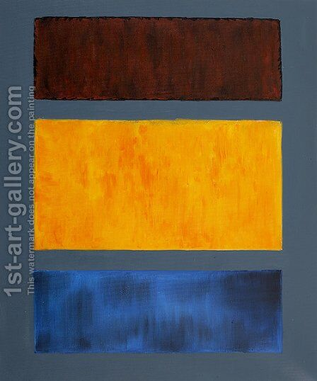 Brown, Orange, Blue on Maroon by Mark Rothko (inspired by) - Reproduction Oil Painting