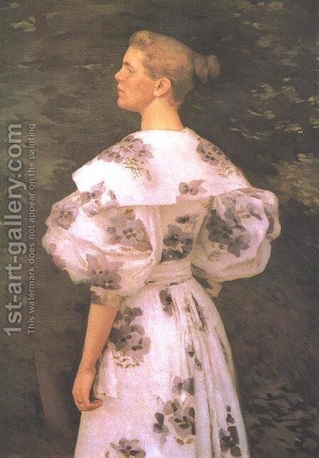 Portrait of a Lady 1895 by Janos Vaszary - Reproduction Oil Painting