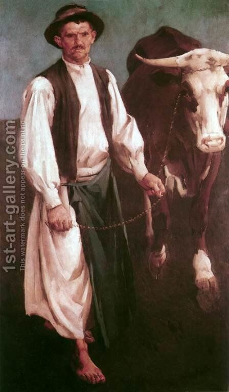 Man Servant 1902 by Janos Vaszary - Reproduction Oil Painting