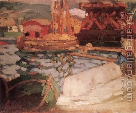 Port in Monaco 1905 by Janos Vaszary - Reproduction Oil Painting