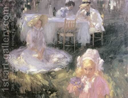 Breakfast in the Open Air 1907 by Janos Vaszary - Reproduction Oil Painting