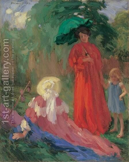 Walking in the Park 1907 by Janos Vaszary - Reproduction Oil Painting