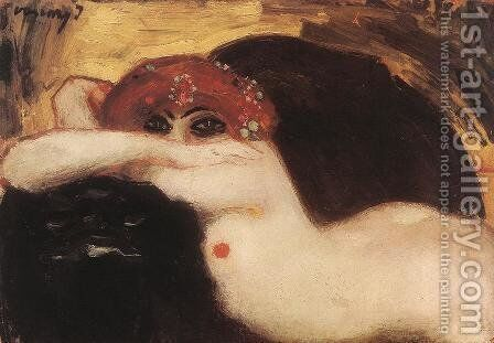 Read-headed Nude by Janos Vaszary - Reproduction Oil Painting