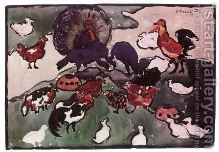 Poultry-run design for a tapestry c. 1904 by Janos Vaszary - Reproduction Oil Painting