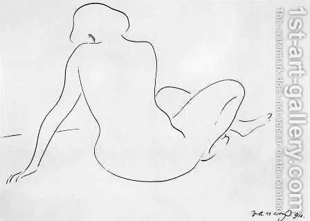 Synthetic Lines Seated Nude, Backwards 1910 by Janos Vaszary - Reproduction Oil Painting
