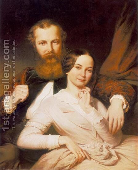Composer Mihaly Mosonyi and his Wife 1840s by Henrik Weber - Reproduction Oil Painting
