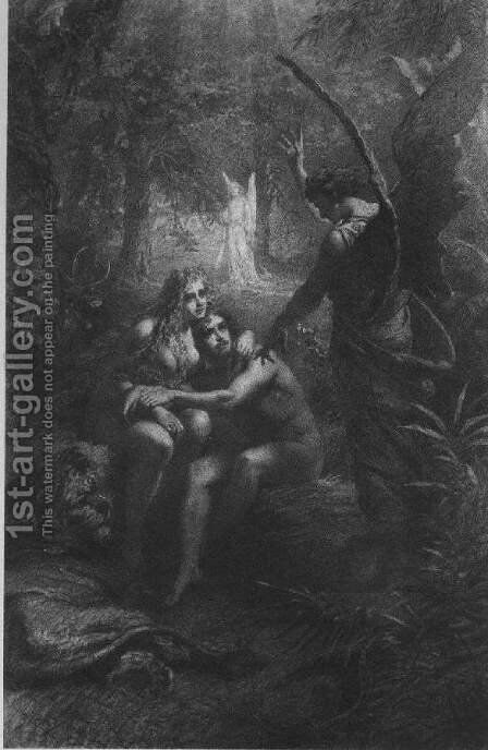 Illustration to Imre Madachs The Tragedy of Man- In the Paradise Scene 2 1887 by Mihaly von Zichy - Reproduction Oil Painting