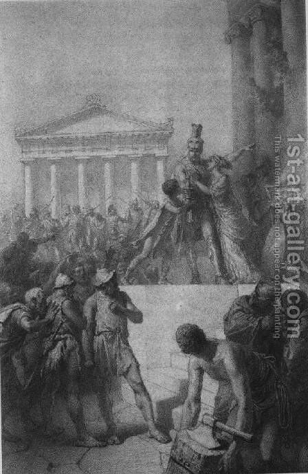Illustration to Imre Madachs The Tragedy of Man- In Athens Scene 5 1887 by Mihaly von Zichy - Reproduction Oil Painting