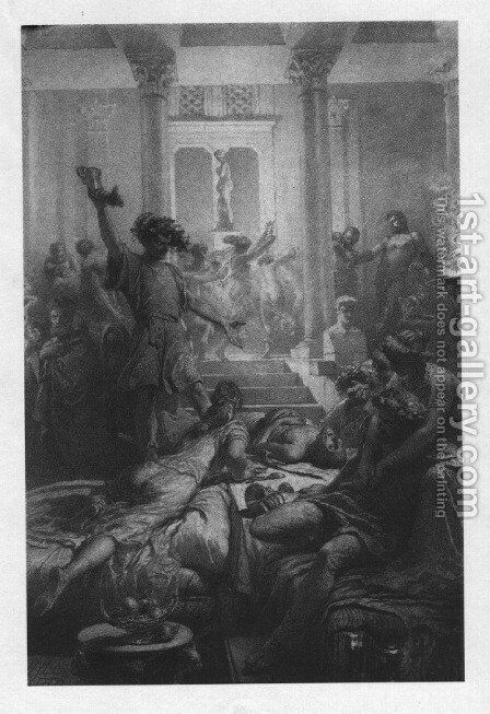 Illustration to Imre Madachs The Tragedy of Man- In Rome Scene 6 1887 by Mihaly von Zichy - Reproduction Oil Painting