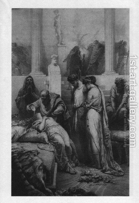Illustration to Imre Madachs The Tragedy of Man- In Rome Scene 6 1887 2 by Mihaly von Zichy - Reproduction Oil Painting