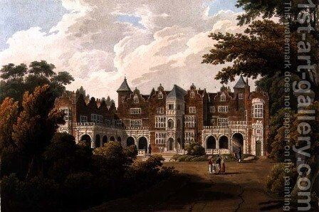 Holland House, the seat of the Right Honourable Lord Holland, engraved by R. Havell and Son by J.C. Smith - Reproduction Oil Painting