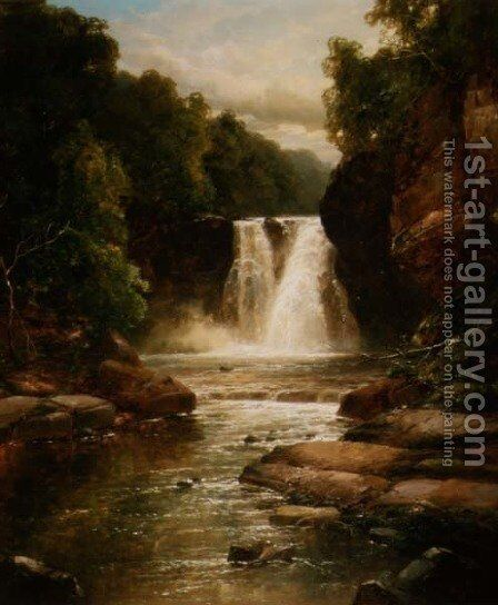 A Wooded River Landscape with Waterfall by James Burrell Smith - Reproduction Oil Painting