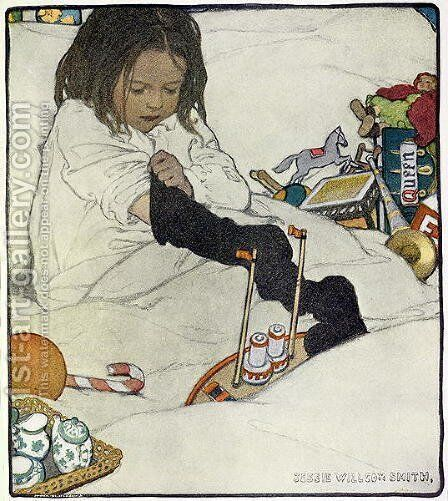 Opening the Christmas Stocking, 1902 by Jessie Wilcox-Smith - Reproduction Oil Painting