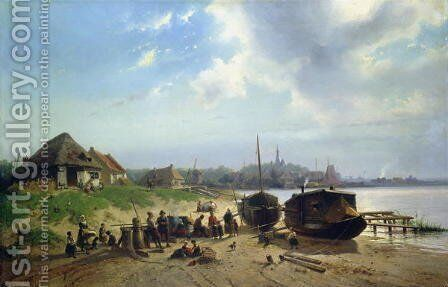 View of the Dutch Coast by Johan Gerard Smits - Reproduction Oil Painting
