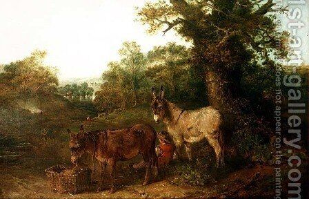 Donkeys in a Glade by Edward Robert Smythe - Reproduction Oil Painting